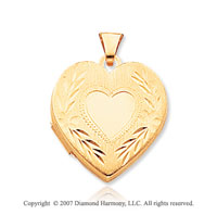 14k Yellow Gold Fine Carved Heart Locket