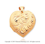14k Yellow Gold Vintage Carved Domed Heart Locket