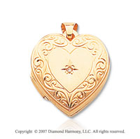 Diamond 14k Yellow Gold Vintage Heart Locket
