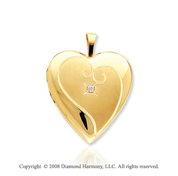 Diamond 14k Yellow Gold Stylish Satin Heart Locket