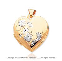 14k Yellow Gold Rhodium Polished Floral Heart Locket
