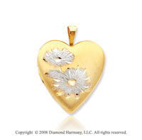 14k Yellow Gold Rhodium Polished Flower Heart Locket