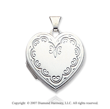 14k White Gold Fine Elegance Heart Locket