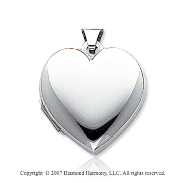 14k White Gold Polished Heart Locket