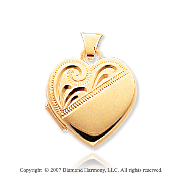 14k Yellow Gold Modern Classic Heart Locket