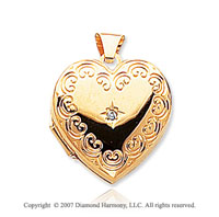 Diamond 14k Yellow Gold Vintage Domed Heart Locket
