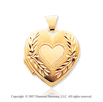 14k Yellow Gold Satin Elegance Heart Locket