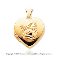 14k Yellow Gold Angel Carved Heart Locket