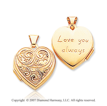 14k Yellow Gold Love You Always Engraved Heart Locket
