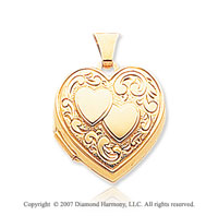 14k Yellow Gold Engraved Hearts Locket