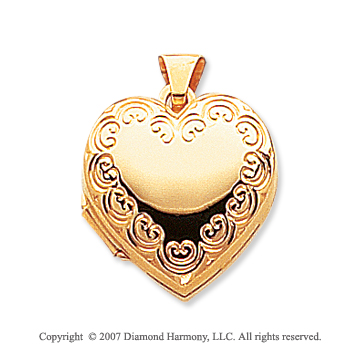 14k Yellow Gold Vintage Engraved Heart Locket