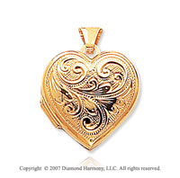 14k Yellow Gold Domed Engraved Heart Locket