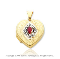 Ruby Diamond 14k Yellow Gold Heart Locket
