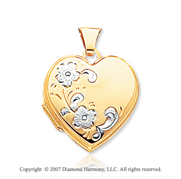 14k Yellow Gold Stylish Flowers Heart Locket