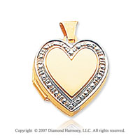 14k Yellow Gold Stylish Accent Heart Locket