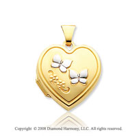14k Yellow Gold Butterflies Heart Locket
