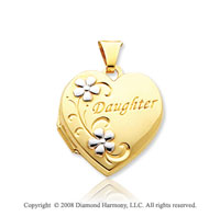14k Yellow Gold  Daughter' Floral Heart Locket