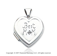Diamond 14k White Gold 'Best Mom' Heart Locket