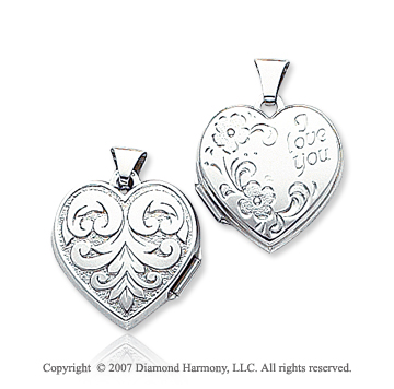 14k White Gold 'I Love You' Reversible Heart Locket