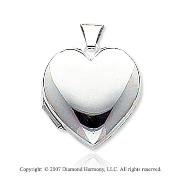 14k White Gold Domed Polished Heart Locket