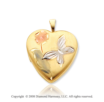 14k Yellow Gold Butterfly & Flower 16mm Heart Locket