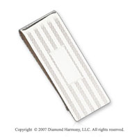 Carved Fashion Durable Fine Sterling Silver Money Clip