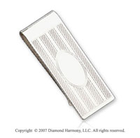 Carved Stylish Exquisite Sterling Silver Money Clip