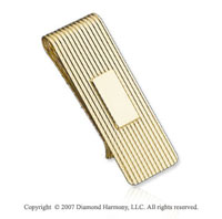 Carved Stylish Durable Fine 14k Yellow Gold Money Clip