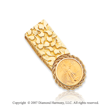 14k Yellow Gold Carved American Eagle Coin Money Clip