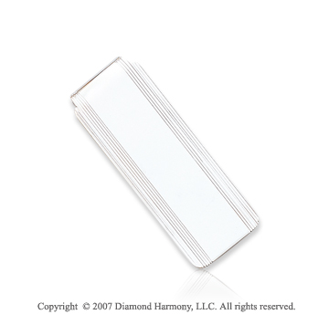14k White Gold Fashionable Carved Linear Money Clip