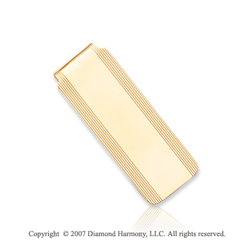14k Yellow Gold Fashionable Carved Linear Money Clip