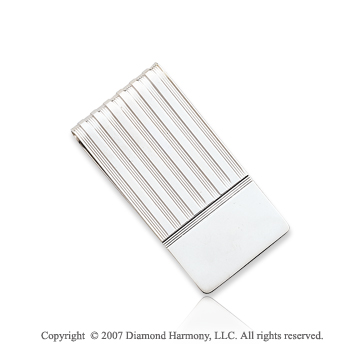 14k White Gold Carved Ridges Wide Men's Money Clip