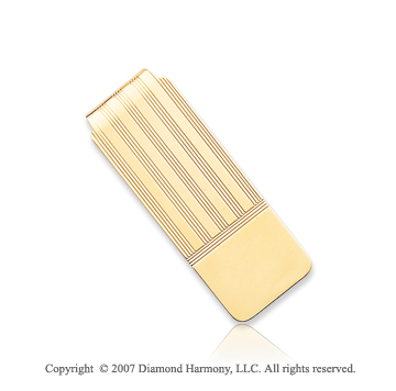 14k Yellow Gold Smooth Linear Pattern Wide Money Clip