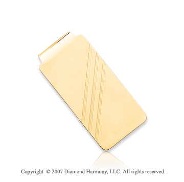 14k Yellow Gold Three Stripes 1 inch Men's Money Clip