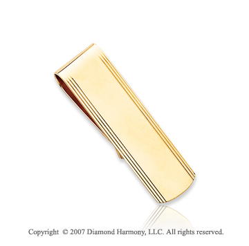 14k Yellow Gold Slim Carved Linear Men's Money Clip
