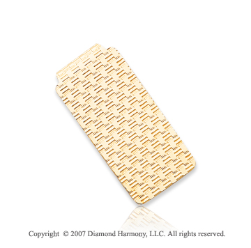 14k Yellow Gold Modern Style 1 inch Men's Money Clip