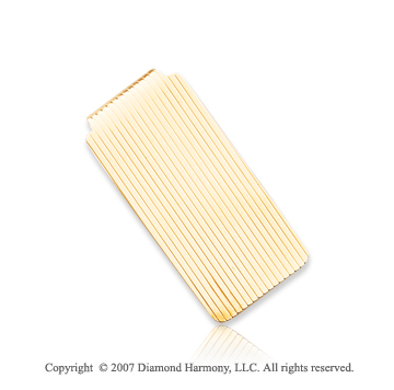 14k Yellow Gold Carved Linear 1 inch Men's Money Clip