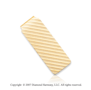 14k Yellow Gold Carved Linear Fashion Slim Money Clip