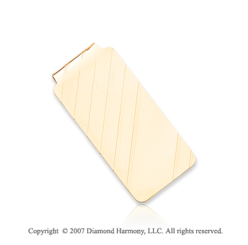 14k Yellow Gold Diagonal Stripes 1 inch Money Clip
