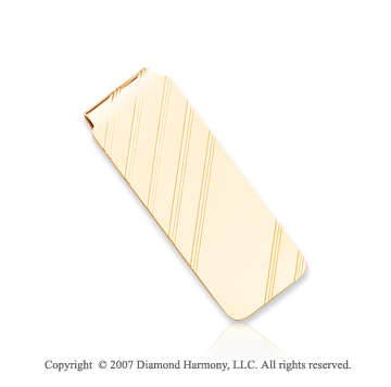 14k Yellow Gold Diagonal Stripes 3/4 inch Money Clip