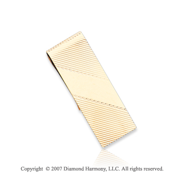 14k Yellow Gold Stylish Linear Pattern Men's Money Clip