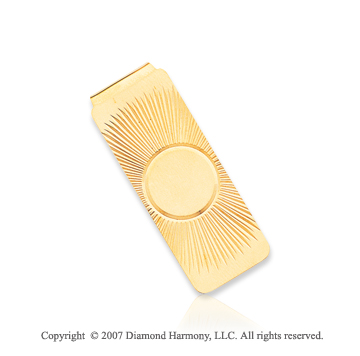14k Yellow Gold Sun Pattern Carved Men's Money Clip