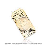14k Yellow Gold Carved '#1 Dad' Fashionable Money Clip