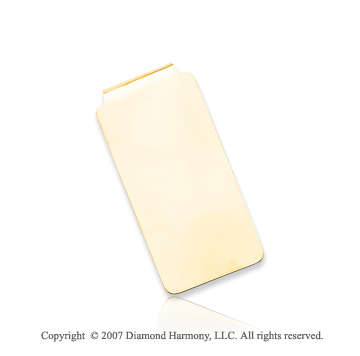 14k Yellow Gold Sleek Plain Style Men's Money Clip