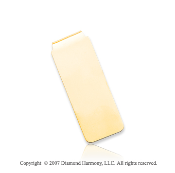 14k Yellow Gold Sleek Plain Style Slim Men's Money Clip