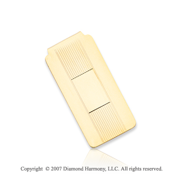 14k Yellow Gold Classic Fashion 1 inch Men's Money Clip