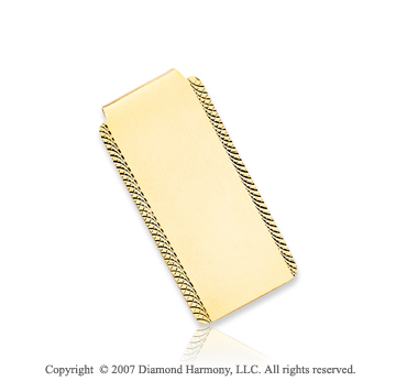 14k Yellow Gold Stylish Outline 1 inch Men's Money Clip