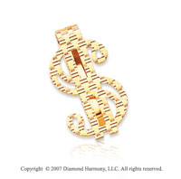 14k Yellow Gold Woven Style Dollar Sign Money Clip