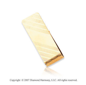 14k Yellow Gold Elegant Lines 3/4 inch Men's Money Clip