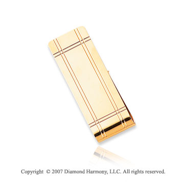 14k Yellow Gold Stylish Lines 3/4 inch Men's Money Clip